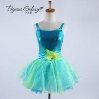 New Children's Dancing Dress Girls Suspenders Sequins Ballet Tutu Dress Girls Modern Dance Skirts Stage Costumes B-6354