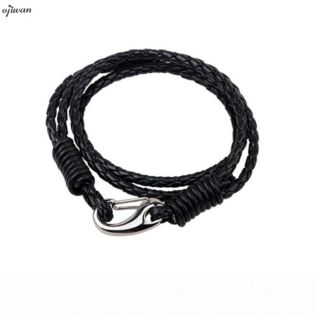 Black Braided Leather Bracelet Mens Leather Jewelry Native American