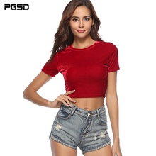PGSD New Spring summer casual slim Tee O-Neck Red Velvet short sleeve T-shirt female Pullover Fashion simple women clothes