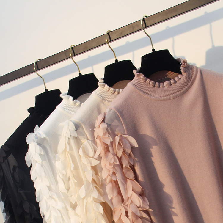 HLBCBG Ruffled Collar Knitted Women Sweater Spring Autumn Loose Jumper Fashion Flowers Sleeves Sweater and Pullover Femme Pull 21