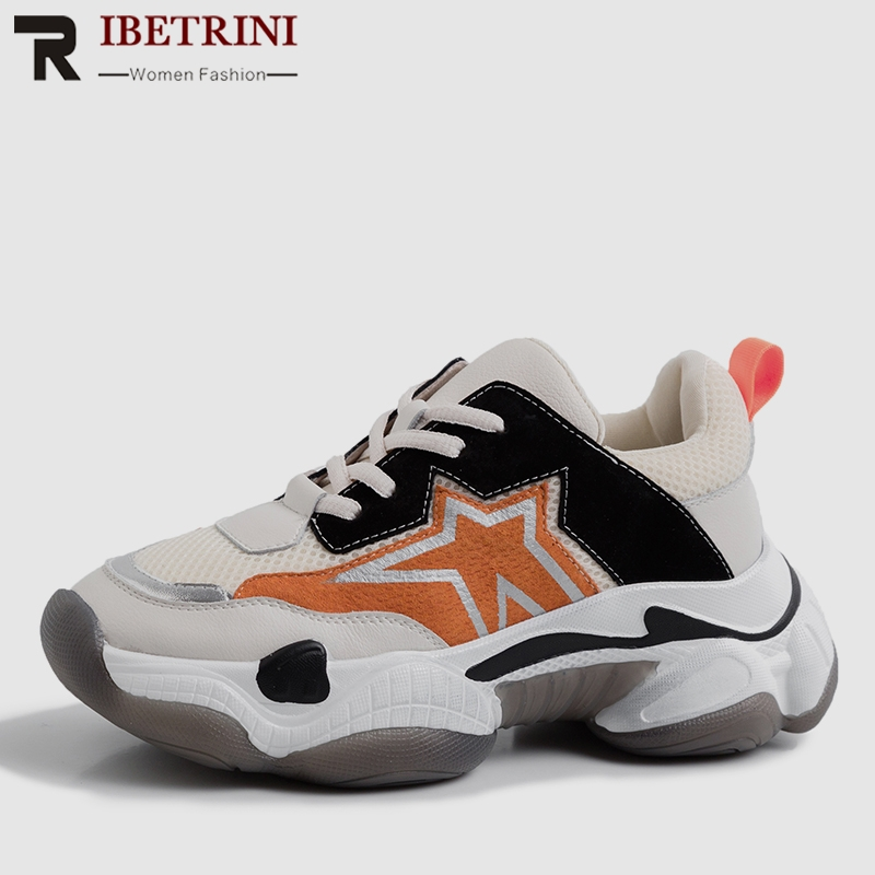 RIBETRINI 2019 New INS Hot Whole Genuine   Leather     Suede   Sneakers Women Spring Platform Dad Shoes Woman   Leather   Women Shoes