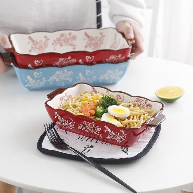 2017 New High Quality Oblong Rectangular Ceramic Non Stick Cake Pan Porcelain Baking Dish Roasting