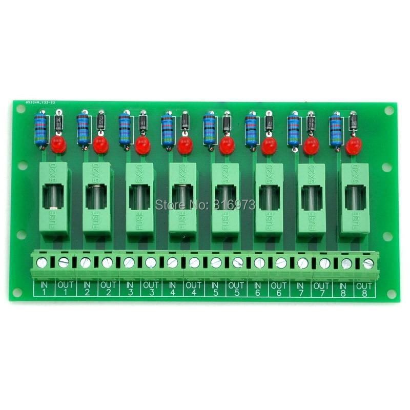 8 Channel Fuse Board, With Fuse Fail Indication, For DC5V 12V 24V 48V.