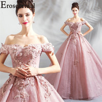 Erosebridal Ball Gown Evening Dress 2019 Long Lace 3D Flower Formal Women Prom Party Gown Pink Color Lace Up Back