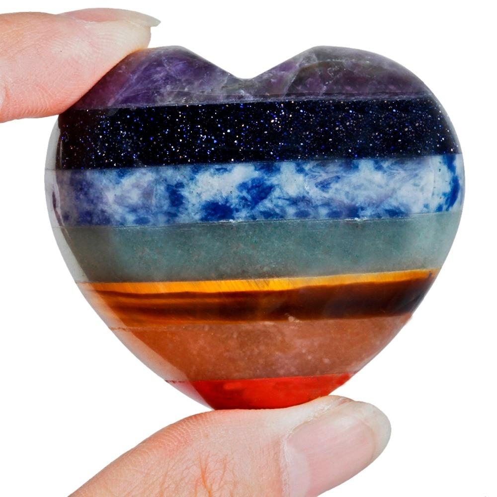 TUMBEELLUWA 7 Chakra Stone Heart Love Healing Crystal Palm Stone Worry Stone Reiki Balancing in Jewelry Packaging Display from Jewelry Accessories