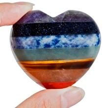 TUMBEELLUWA 7 Chakra Stone Heart Love Healing Crystal Palm Stone Worry Stone Reiki Balancing