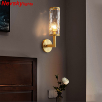 Classic copper Sconce Wall light for home glass arandela Wall led Lamp applique murale luminaire for Bedroom wandlamp Fixtures