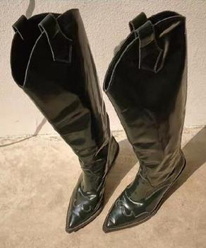 New 2019 Spring Black/Green Patent Leather Pointed Toe V Shape Open Slip On Transparent Wedge 85 mm Heels Knee High Long Boots