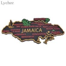 ライチ生活 1pcジャマイカ地図冷蔵庫マグネット漫画の冷蔵庫のステッカーdiy手作りの家の装飾