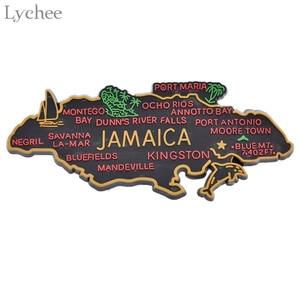 Image 1 - ライチ生活 1pcジャマイカ地図冷蔵庫マグネット漫画の冷蔵庫のステッカーdiy手作りの家の装飾