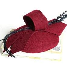 Autumn Winter Hollow Veil Wool Felt Women Fedoras Cocktail Formal Dress Hats Wom