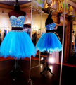 Two Pieces Short Homecoming Dresses 2015 A-line Sweetheart Blue Appliques Beaded Mini Cocktail Dresses Graduation Dress