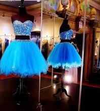 Zwei Stücke Kurze Heimkehr Kleider 2015 A-line Liebsten Blau Perlen Appliques Mini Cocktailkleider Graduation Kleid