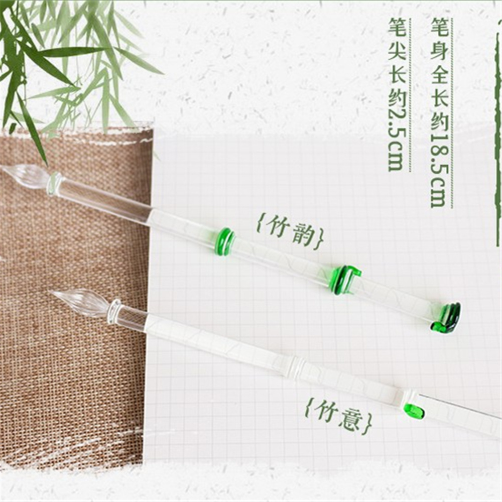 Classical Handmade Fountain Pen Glass Bamboo Shape Signature Pen Elegant Crystal Glass Dip Sign Pen Gift With Box