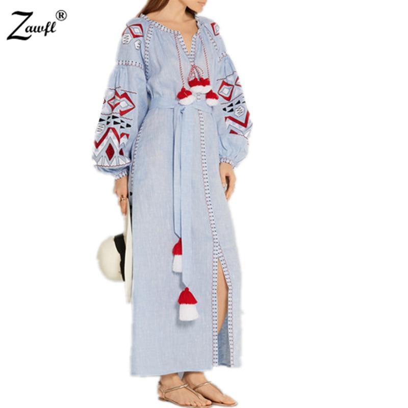 Zawfl Nouveau Printemps Longue De Piste Broderie 2019 Bleu Luxe Femelle Color Picture Automne Robe rqxTrCw