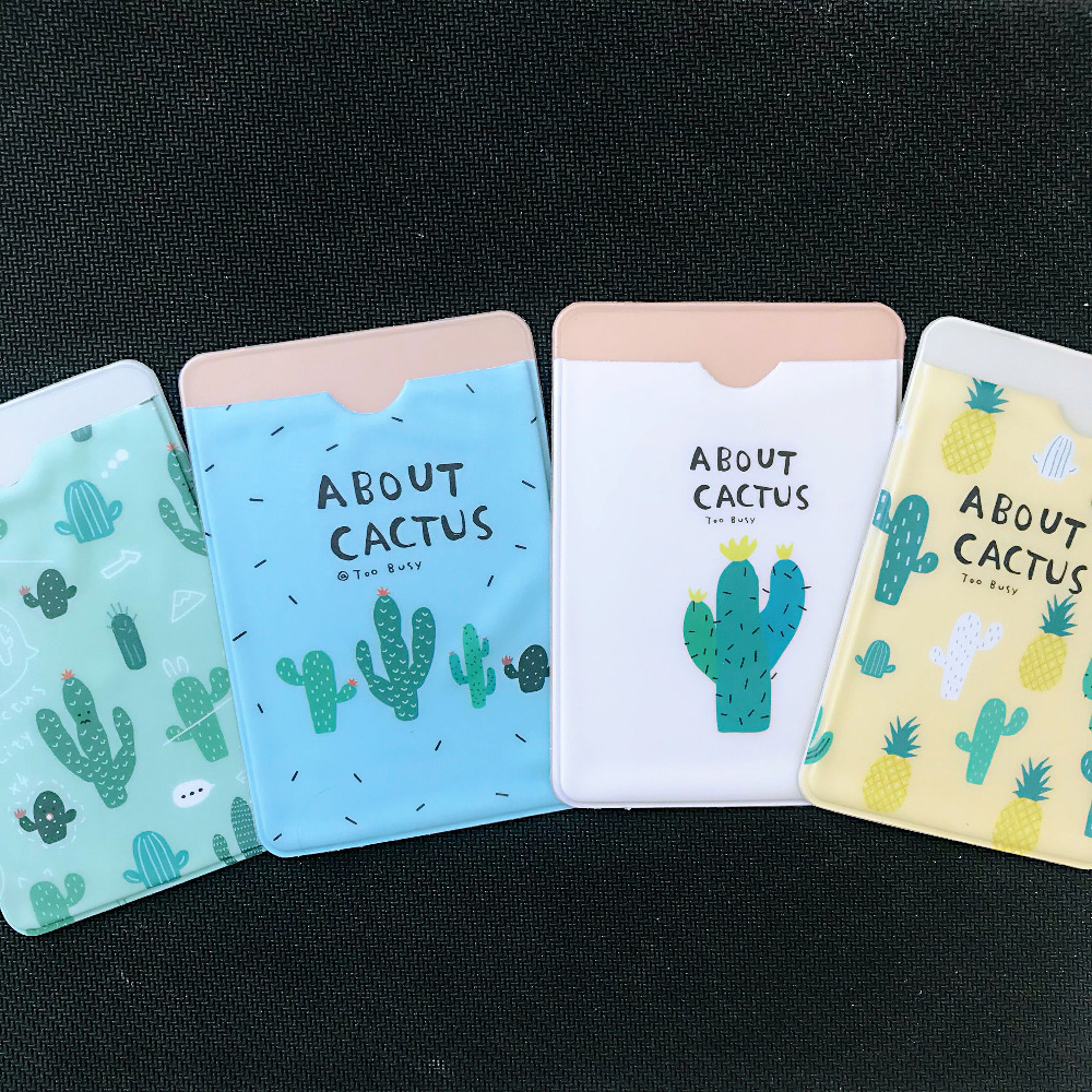 1X Fresh Fruit Cactus Animals Double-Layer  Card Protection Tool School Office Supply Student Stationery Kitten Bag Kids Gift