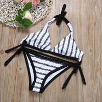 Bikinis Swimwear Women Stripe Bikini Set Bandage Push-Up Swimsuit Bathing Beachwear Bathing Suits 2017 Moda Praia tr1