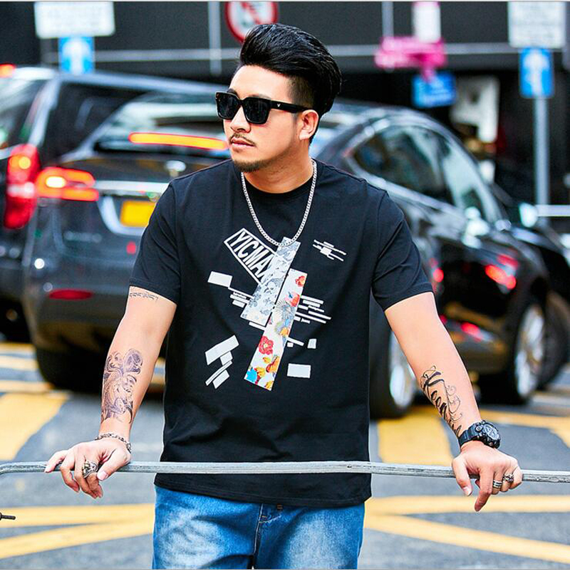 2019 Oversize Large Size Men's Short Sleeves Printed T Shirts Male Fat Guy Summer Big and Tall Mens Tee Clothes Plus XL 6XL 37