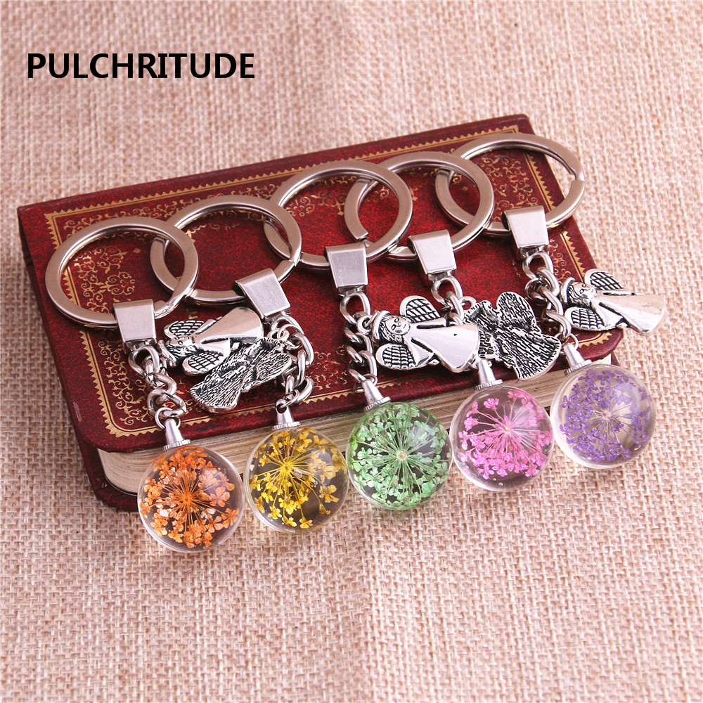PULCHRITUDE 2 pcs/lot Metal KeyChain Crystal Glass Ball Dried Flower Pendant Angel Charm Key Ring Jewelry Diy C0547 ...