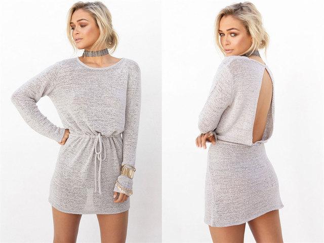 Backless Mini Beach Dress Long Sleeve Gray Belt