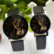 1 Pair Student Couple Stylish Spire Glass Leather Belt Quartz Wrist Watch Fashio
