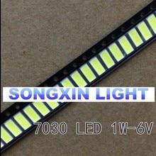 100 шт. 1 Вт 7030 прохладные белые светодиоды для монтажа на поверхность(Светодиодные) 6В 240mA 6000 K-6500 K супер яркие светодиодные чипы 110-120LM