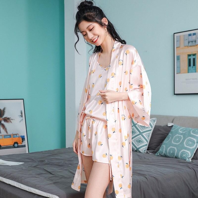 Fresh Apple Print Ice Silk 3 Pieces Summer Women's Pajamas Sets Satin Loose Robe Sets Shorts Pyjamas Female Underwear Plus Size