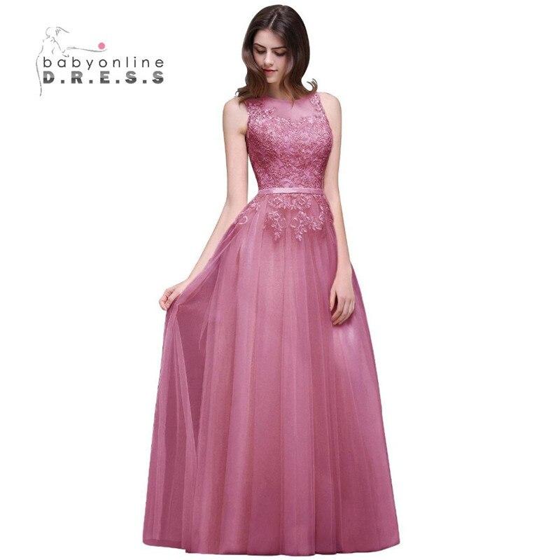 2017 Sexy Vestido de Noche Largo de Gasa Vestido de color Rosa ...