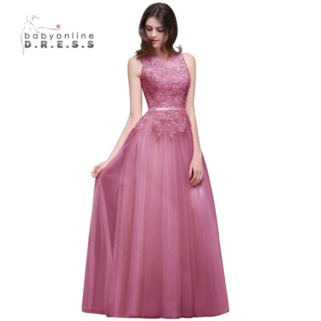 Sexy Sheer Lace Appliques Pink Burgundy Prom Dresses Long Cheap Navy ...