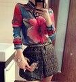 2017 Novas Mulheres Da Moda Blusas de Chiffon Mulheres Flor Imprimir Lapela Casual Chiffon Manga Comprida Camisas Mulheres Tops