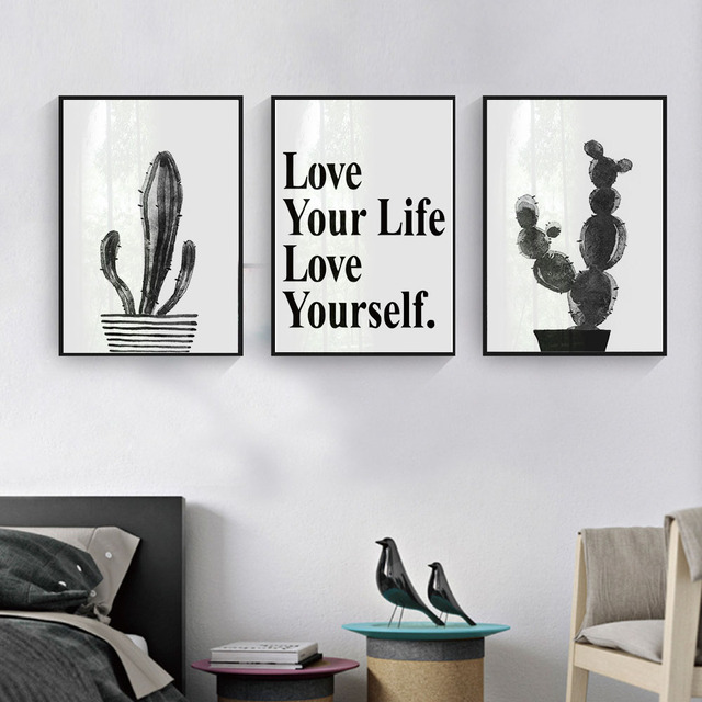 Black White Cactus Decor Art Canvas Posters And Prints Inspirational  Minimalist Painting Wall Pictures For Living