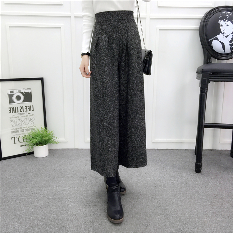 ZHISILAO Loose Trousers Women Winter Warm Wool Wide Leg Pants Maxi Plaid High Waist Trousers Elastic Thick Black Pants Casual 16