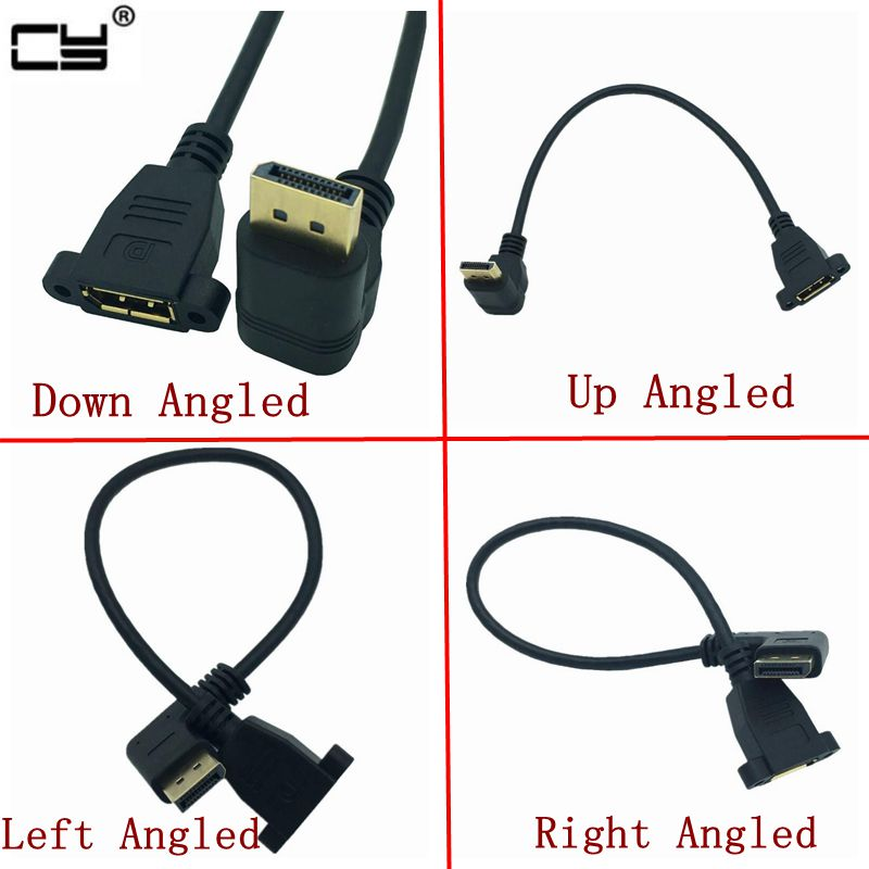 Gold DisplayPort DP Male Up & Down & Left & Right 90 Degree Angle To Female Socket Panel Mount Extension Cable Display Port 30cm
