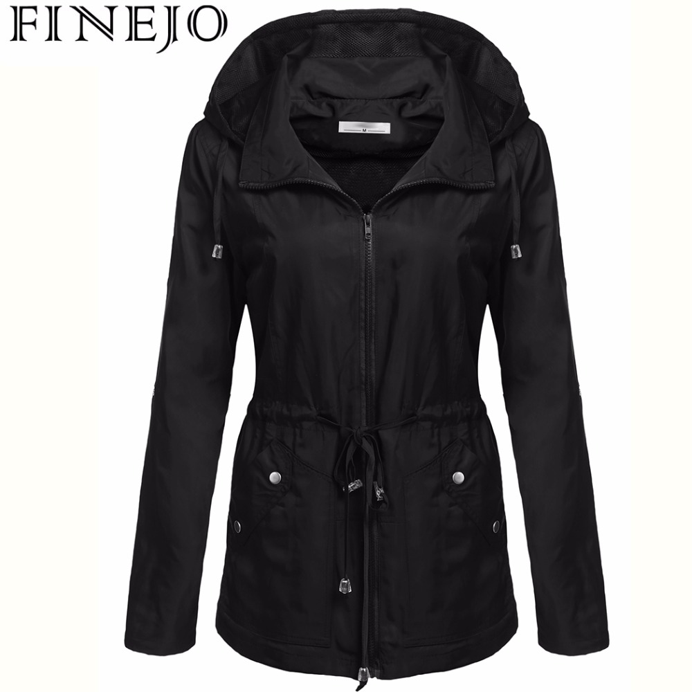 FINEJO Women's Waterproof   Jacket   Autumn Winter female   Basic     Jacket   2017 Waterproof Outerwear Coats Female Windbreaker