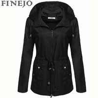 FINEJO Women Detachable Hooded Long Sleeve Casual Solid Drawstring Lightweight Jacket
