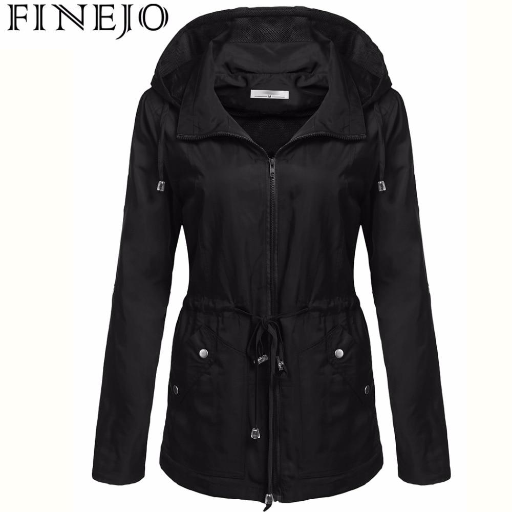 FINEJO Women's Waterproof Jacket Autumn