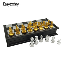 Easytoday Chess Games Set Magnetic Folding Chessboard High-quality Gold silver Color Plastic Pieces Table Gift