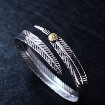 MetJakt Classic Eagle Feathers Bangles & Takahashi Goro Works Solid 925 Sterling Silver Open Bracelet for Lovers' Jewelry