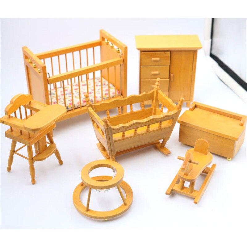 Doub K 1:12 Dollhouse miniatura de madera cuna silla muñecas muebles ...