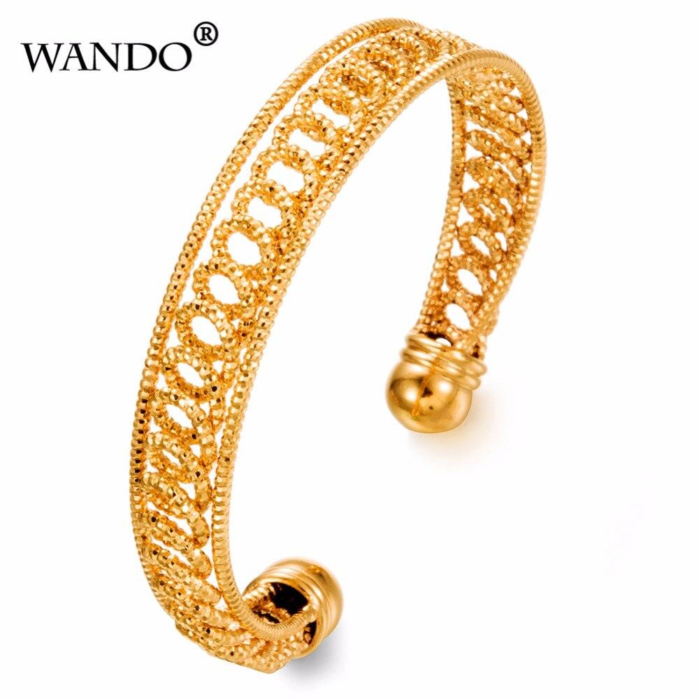 WANDO Ethiopian Open Bangles 24k Gold Color Dubai Bracelet African/Arab/Kenya/Middle East Wedding B35