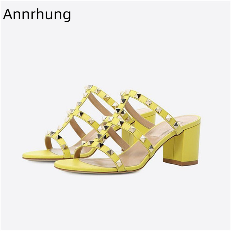 Sexy Rivet Candy Color Women Sandals Gladiator Square Heel Slingback Summer Shoes Fashion Outwear Beach Slippers Sandalias MujerSexy Rivet Candy Color Women Sandals Gladiator Square Heel Slingback Summer Shoes Fashion Outwear Beach Slippers Sandalias Mujer