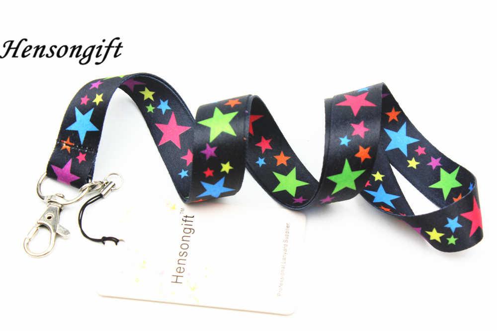 Hensongift colorido estrella llavero ID tarjetero estrellas teléfono móvil correas de cuello