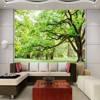 Free Shipping Custom Living Room TV Background Wall Green Natural Forest Wallpaper Bedroom Corridor Restaurant Mural