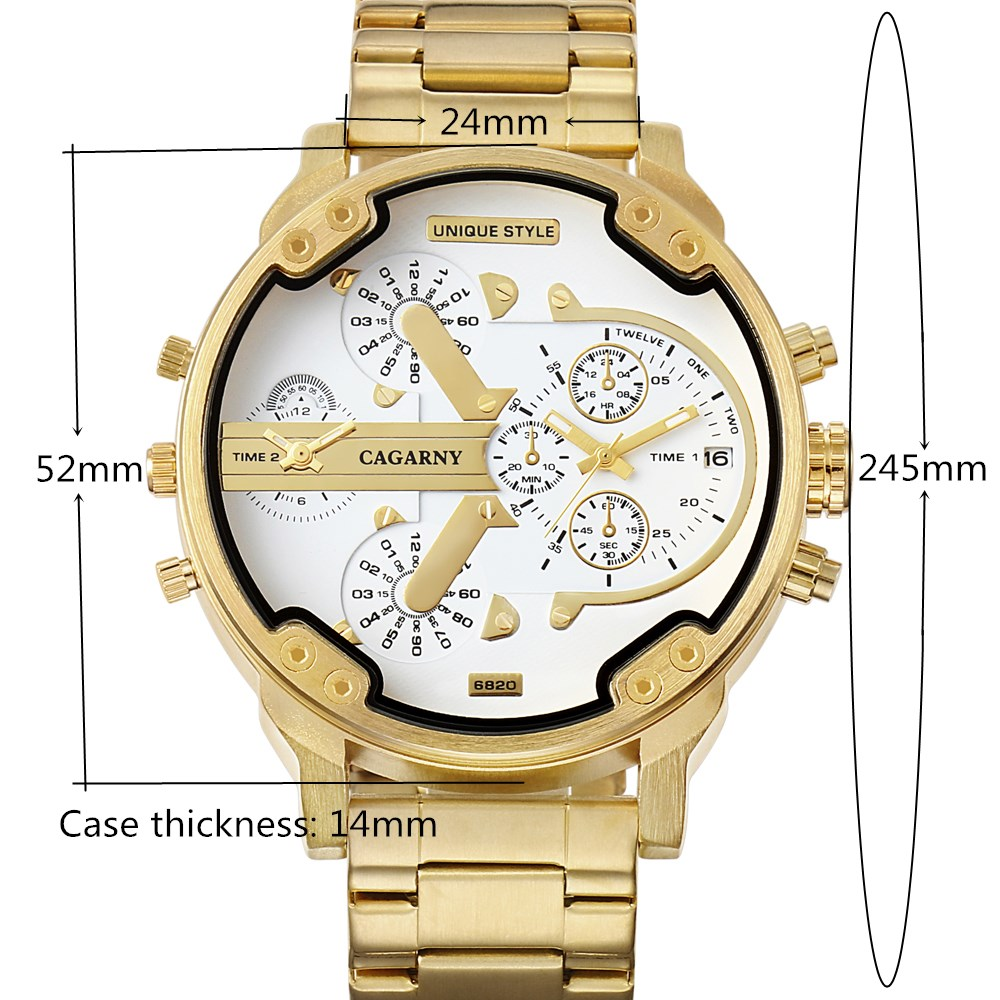 CAGARNY Brand Luxury Watch Men Gold Steel Bracelet Strap Quartz Watches Good Quality Male Wristwatches Fashion Brand NATATE 7