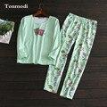 Женская пижама Весна Хлопка С Длинным рукавом печати Мода сна Lounge Pajama Наборы пижамы женщин