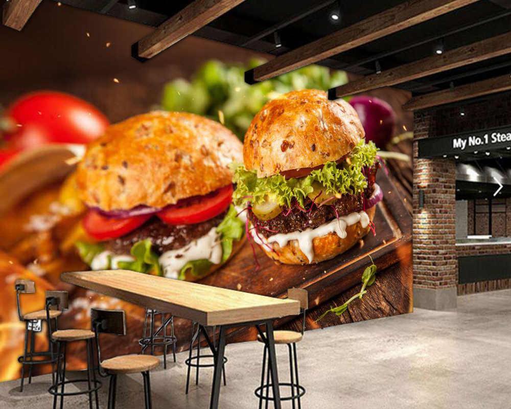 Hamburguesa casera con lechuga y queso papel pintado 3d papel de parede, tienda de comida rápida cocina restaurante bar mural