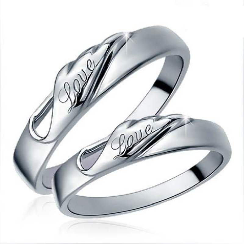 a6013040cf Silver plated feather ring couple men /female wedding bands rings for men  and women sets fashion lovers rings jewelry wholesale
