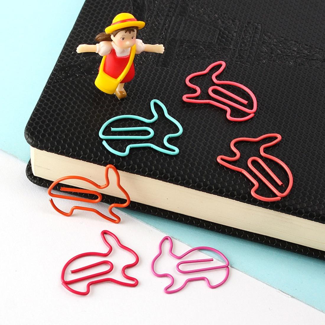 FangNymph Creative 10Pcs Rabbit Bookmark Planner Paper Clip Metal Material Segnalibri For Book Stationery School Office Supplies