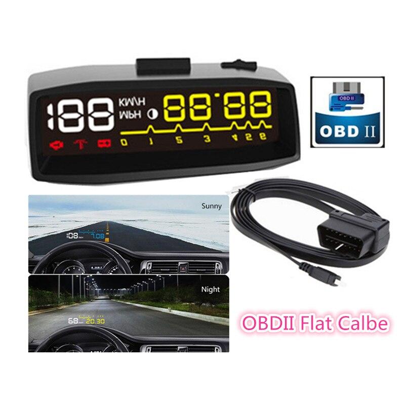 2017 nouveau OBDII voiture HUD KM/H MPH carburant survitesse pare-brise projecteur tête haute affichage véhicule intelligent HUD EUOBD tension système d'alarme
