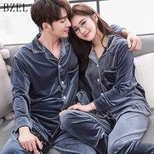 BZELใหม่คู่ชุดกำมะหยี่Pijamasแขนยาวชุดนอนของเขา และ บ้านของเธอชุดชุดนอนสำหรับคนรักman Woman Lovers เสื้อผ้า